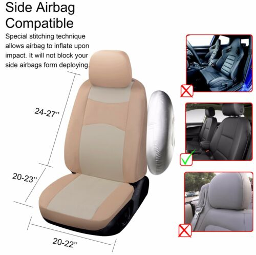 2 Tone Tan Cloth Fabric Two Front Car Seat Covers for Kia #16003