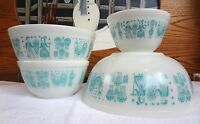4 Vintage PYREX NESTING BOWLS Amish Butterprint TURQUOISE Mixing CORNING Rooster
