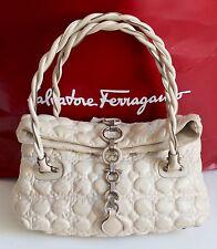 Salvatore Ferragamo Quilted Cream Leather Padded Gancini Bag Medium/Large Size