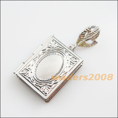 2 New Charms Dull Silver Plated Square Picture Locket Frame Pendants 19x23mm