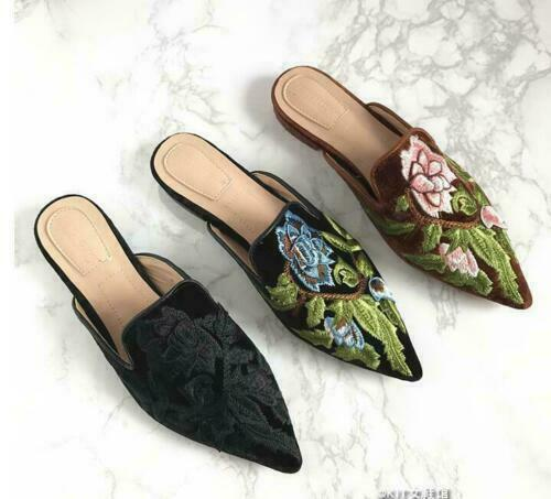 Embroidery Floral Pumps Shoes Velvet Pointed Toe Mules Summer Casual Slippers sz