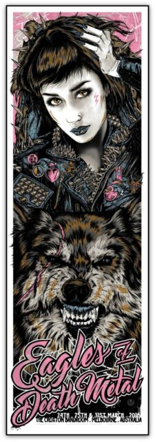 Eagles of Death Metal Melbourne 2016 Silkscreen Poster Variant Art Rhys Cooper
