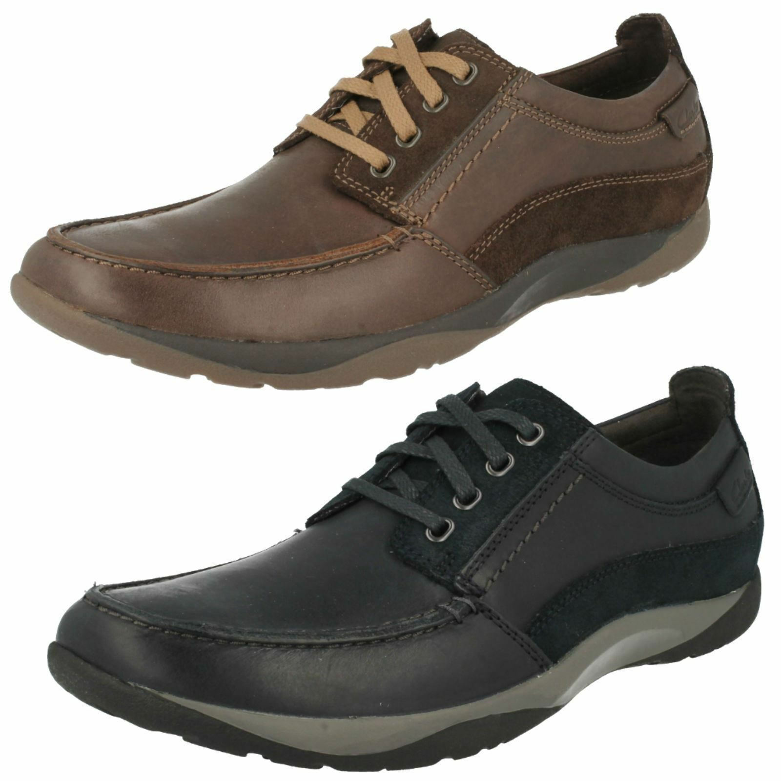 Mens Clarks Route Walk Brown Or Navy Leather Casual Lace Up shoes