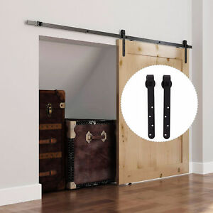 6FT-Sliding-Barn-Wood-Door-Hardware-Kit-Cabinet-Closet-Hanger-2pc-Coffee