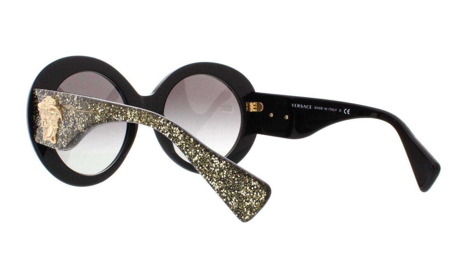 1b93fe52cdc8 Versace Medusa Women Round Sunglasses Ve 4298 Black Gold Glitter for sale  online