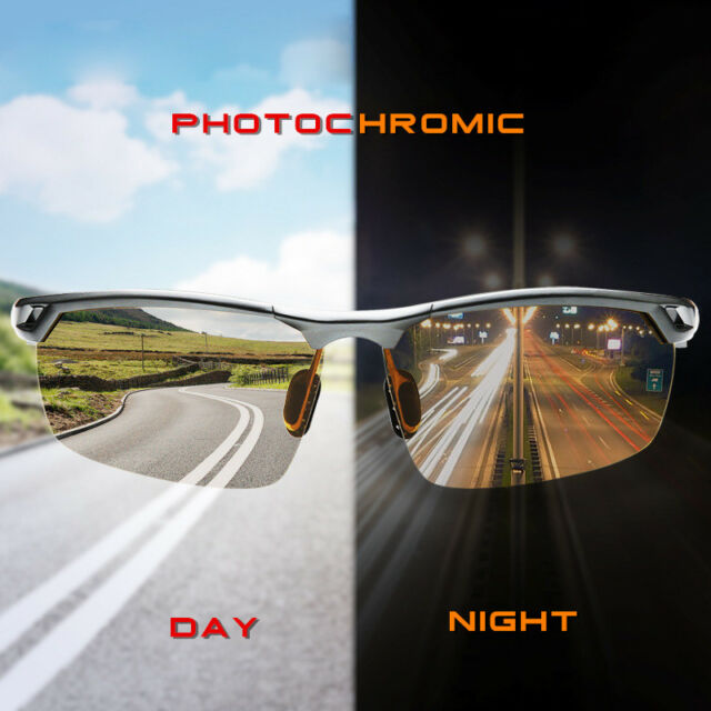 Photochromic Polarized Transition Lens Sunglasses Men Day Night Driving Glasses