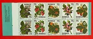 Sweden-1977-Sc-1219a-WILD-BERRY-MNH-Stamp-Booklet-CV-8