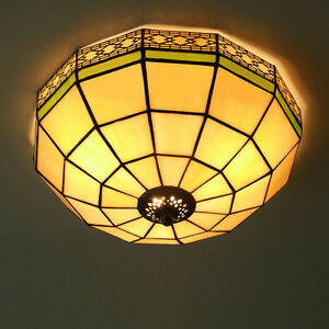 Details About 14 Tiffany Style Mount Stained Gl Ceiling Fixture Light Flush Pendant Lamp