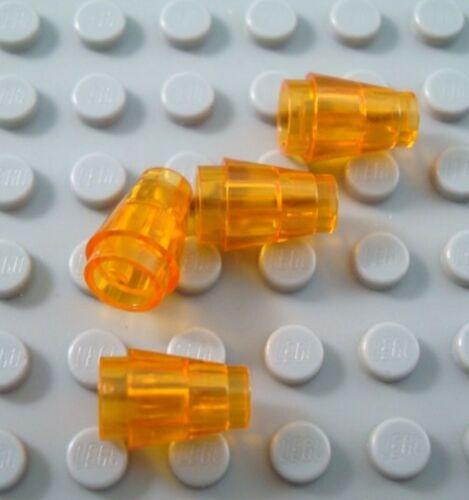New LEGO Lot of 4 Translucent Dark Orange 1x1 Brick Cone Pieces
