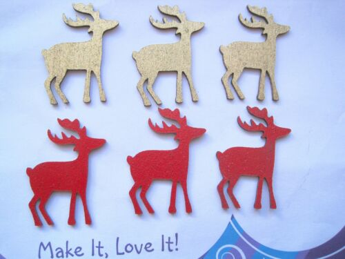 3 x RED or GOLD Glitter Wooden REINDEER STAG Cut Out CRAFT Card Making XMAS DEER