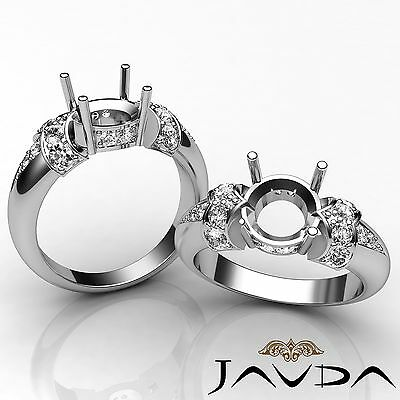 Natural Diamond Engagement Ring 14k White Gold Beautiful Round Semi Mount 0.35Ct