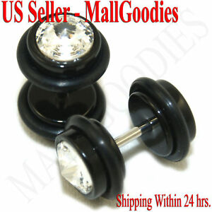 1158-Fake-Cheaters-Illusion-Faux-Ear-Plugs-16G-Bar-Look-0G-Black-Solid-Clear-CZ