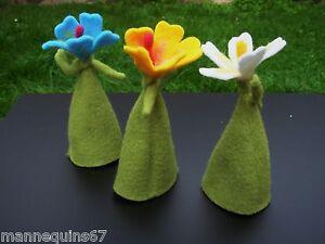 Travailleur 3 Fleurs Tissu Feutrine Decoration Maison Jardin Vitrine Performance Fiable