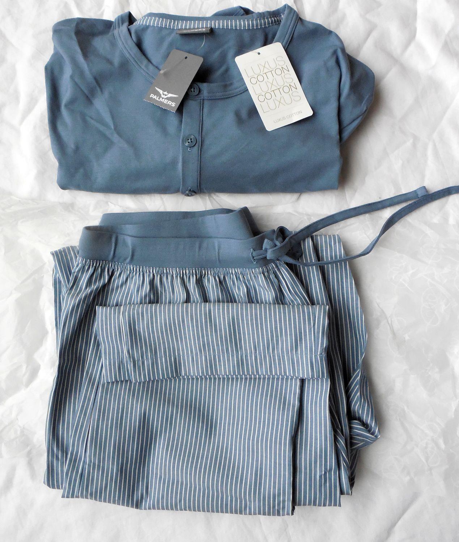 Palmers Gr L 52-54 Pyjama Schlafanzug blue-Ecrue Deep nights gestreift Baumwolle