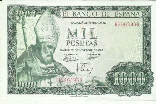 UNC CONDITION 7RW 25FEB SPAIN 1000 PESETAS 1965  P 151 UNCIRCULATED