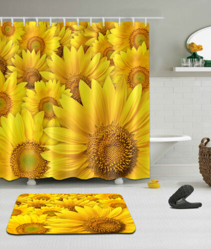 "72//79/"" Sunflower Shower Curtain Bathroom Mat Rug Carpet Waterproof Fabric 2402"