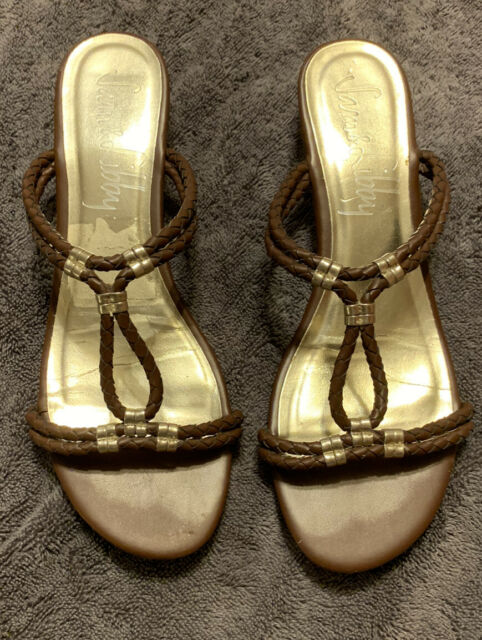 Womens Sam And Libby Sandals.  Brown And Silver. Size 7.5