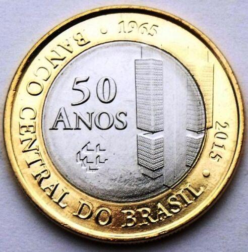 BUILDING BIMETAL BIMETALLIC BRAZIL 1 REAL 2015 50 YEARS OF CENTRAL BANK UNC