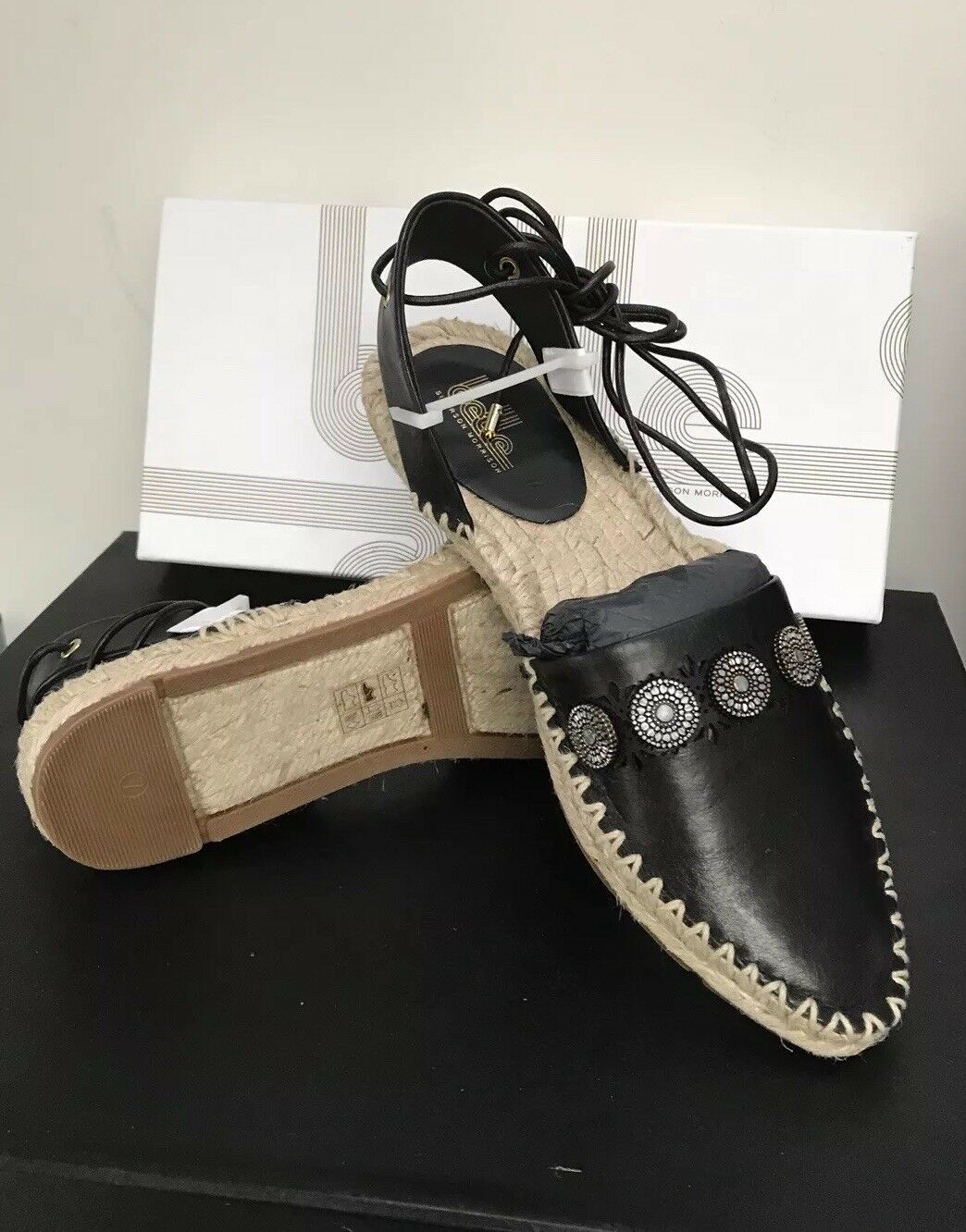 New Belle by Sigerson Morrison Maia Black Leather Espadrille US US US 7 a8a8fc