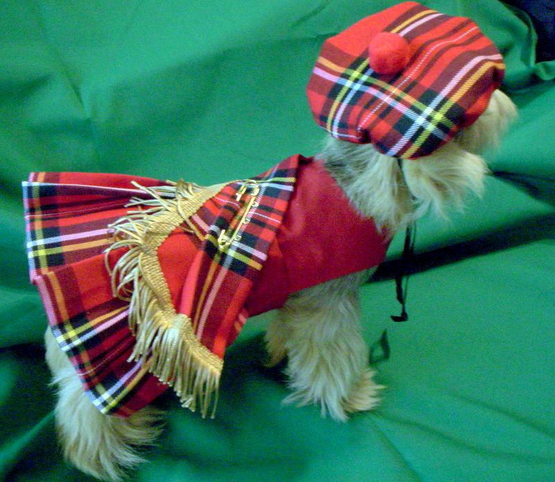 Red Royal Stewart Dog Kilt  & Hat XXXS,XXS,XS,S,M,L
