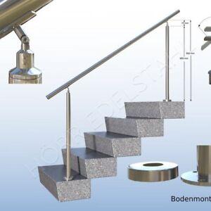 1 m edelstahl gel nder handlauf treppengel nder 100cm bausatz f r treppe schr g ebay. Black Bedroom Furniture Sets. Home Design Ideas