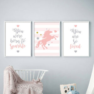 Pink-Unicorn-Wall-Art-Nursery-Poster-Canvas-Print-Baby-Girl-Bedroom-Decoration