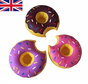 Set Of 3 Inflatable Doughnuts Floating Donut Drink Holders Pool Hot Tub Party