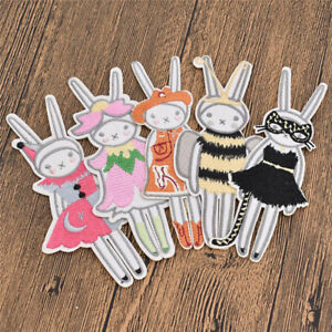 Cartoon-Rabbit-Girl-Embroidered-Iron-On-Patch-Applique-DIY-Bag-Clothes-Handmade