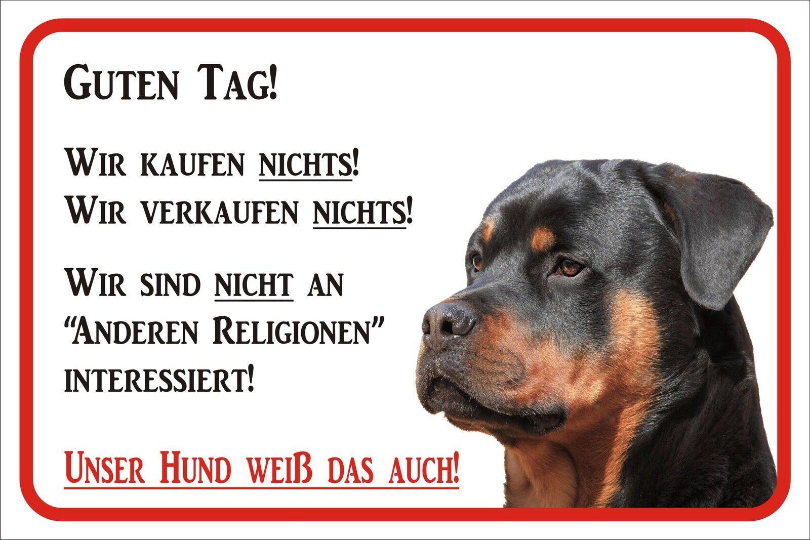 Schild Rottweiler Wir kaufen nichts! - FUN 15x20 bis 40x60cm Hund Warnschild
