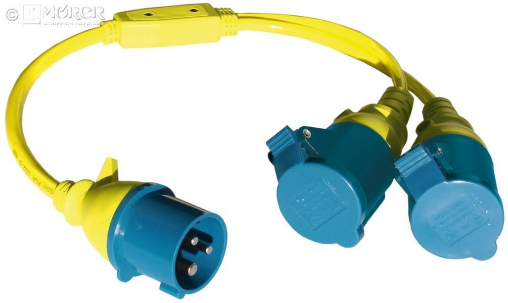 CEE - Y-Grüneiler PVC - 2x Kupplung - 3 x 2,5 qmm gelb