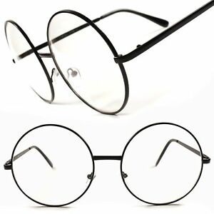 Stylish Vintage Retro Large Oversized Round Frame Clear Lens Eye Glasses E60A
