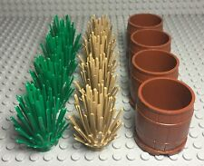 Lego Tan Bush X4,green Prickly Bush Shrub Plants X4,large Reddish Brown Barrel
