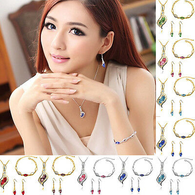 NEW Crystal Wedding Gift Charm Rhinestone Earring Necklace Jewerlry Set Bracelet