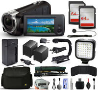 Sony Hdr-cx240 Hd Handycam Camcorder + 128gb + Stabilizer + Case + Led + More