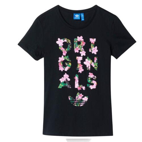adidas Originals Damen Trefoil Tee Flower Tee Blumen Blüten Schwarz AB2322