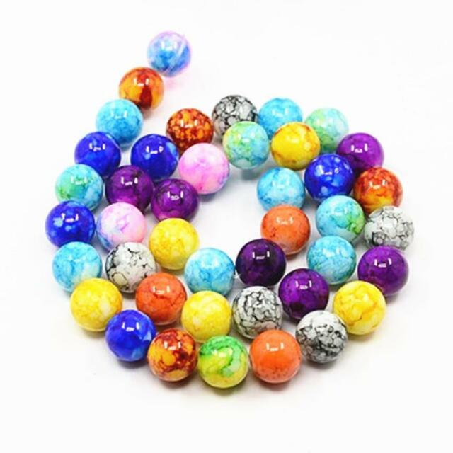 1 strand about 42pc 10mm Spray Painted mix color glass round beads-9593