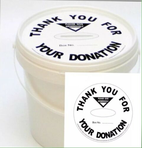 3 Mini Charity Money Pots Buckets With Lid And Label In WHITE PACK OF 3
