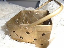 1970s Brass basket woven storage handle Mid century India.Bohemian deco vintage