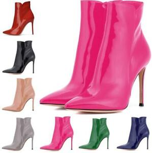 Womens-High-Heel-Stiletto-Side-Zip-Leather-Pointy-Toe-Ankle-Boots-Sexy-Shoes-New