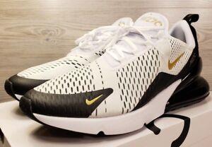 69825c9abfeb Nike Air Max 270 White Metallic Gold Black Running Training AV7892 ...