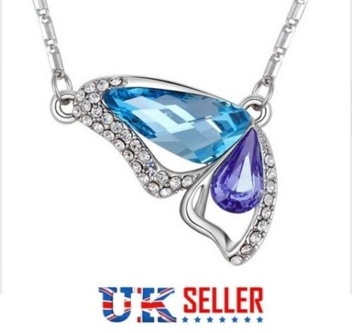 Beautiful Butterfly Pendant Necklace Animal CZ UK Seller Chain