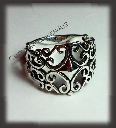 SIZE 7,8,9 PLATED RHODIUM RING WITH FILIGREE DESIGN STERLING SILVER