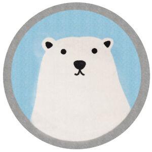 Details zu Kinderteppich Soft Konturschnitt Rund Eisbär Lennox 100 cm  Teppich Kinderzimmer