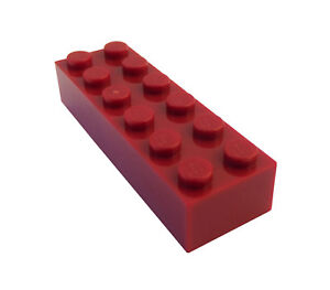 Lego-50-Stueck-dunkelrote-dark-red-Steine-2x6-Stein-2456-Basics-City-Neu