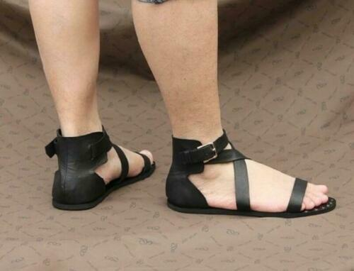 Vintage Mens Buckle Strap Gladiator Flats Leather Roma Sandals Studded Shoes Hot