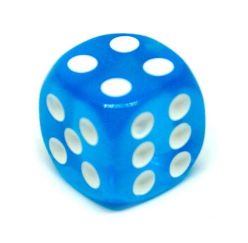 6Seitig// W6// D6// Spiele 10 Transparent Hellblau Würfel 16mm mit weißen Punkten