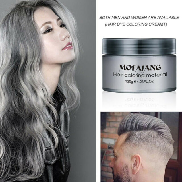 Mofajang Hair Color Wax Instant Silver Grey Temporary Hairstyle Cream 4 23 Oz Silvery Pomades Natural Ash Matte