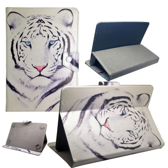 Housse Etui Tablette Samsung Universelle - 10 Pouces - Design Tigre Blanc