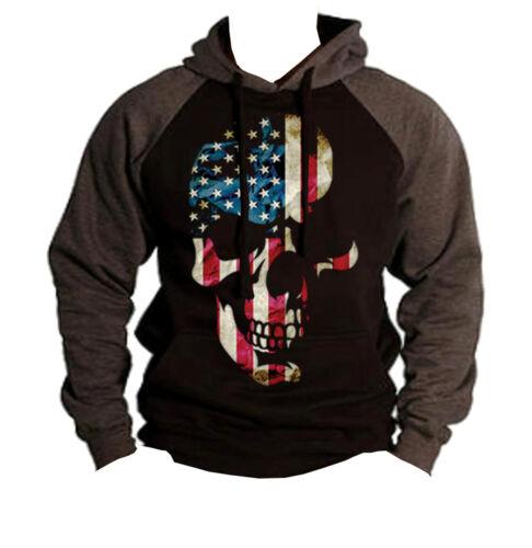New Americana Skull Raglan Hoodie sweatshirt US Flag american pride patriotic