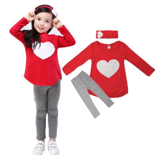 Kids Girls Cotton Coat Tracksuit Pants Hoodies+Joggers Sweatshirt Costume Outfit
